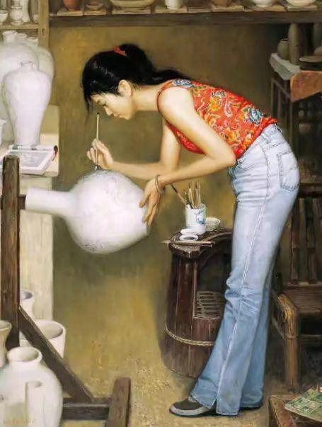 西方美术作品写实油画女性,传统又有古典美