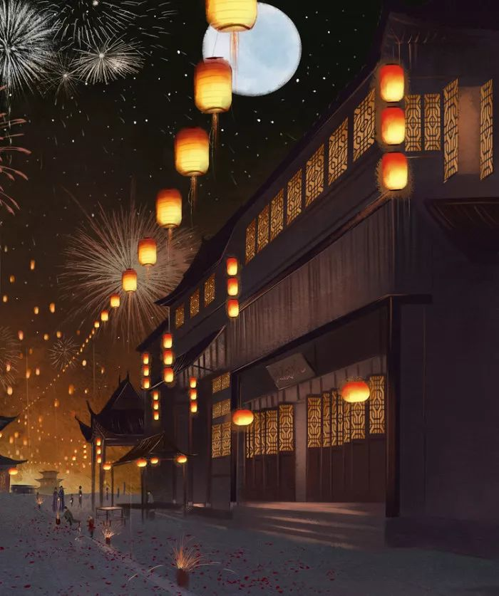 夜晚插画:灯火万家城四畔,星河一道水中央