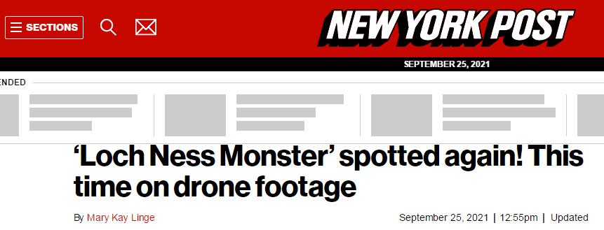 美国媒体称再次发现尼斯湖水怪?只怪我闭着眼睛才看到!