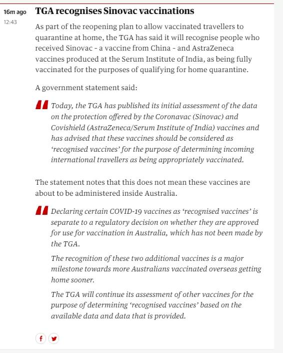 澳大利亚承认中国科兴疫苗,留学生的好消息来了!